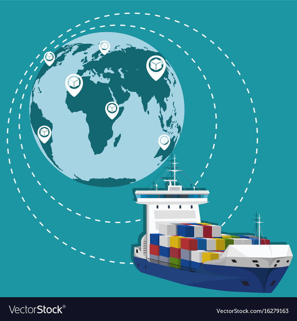 Global network of commercial maritime shipping vector image