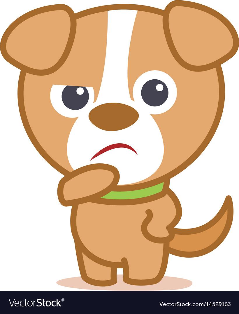 Sad dog character cartoon vector image