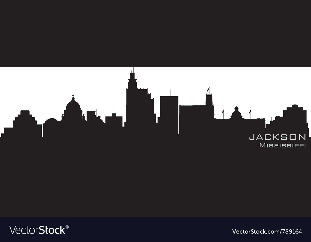 Jackson mississippi skyline detailed silhouette vector image