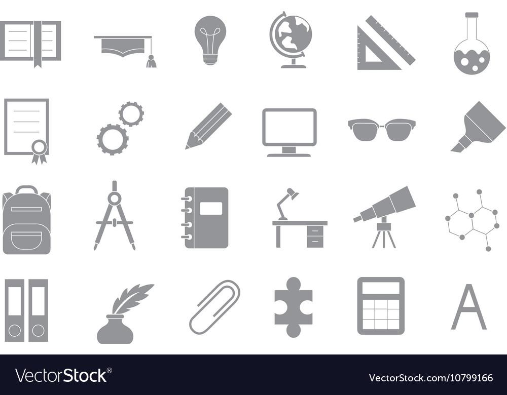 School elements gray icons set vector image