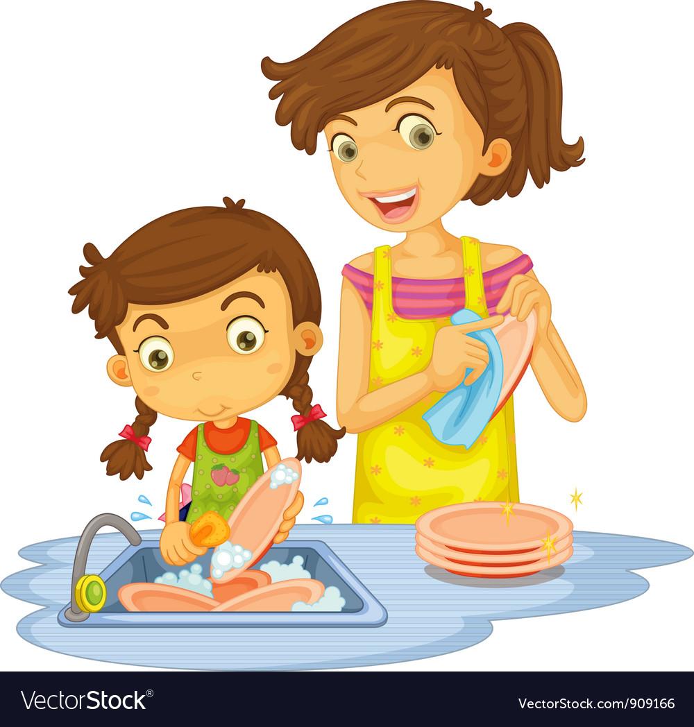 Best Washing Dishes Illustrations Royalty Free Vector: Washing Dishes Royalty Free Vector Image