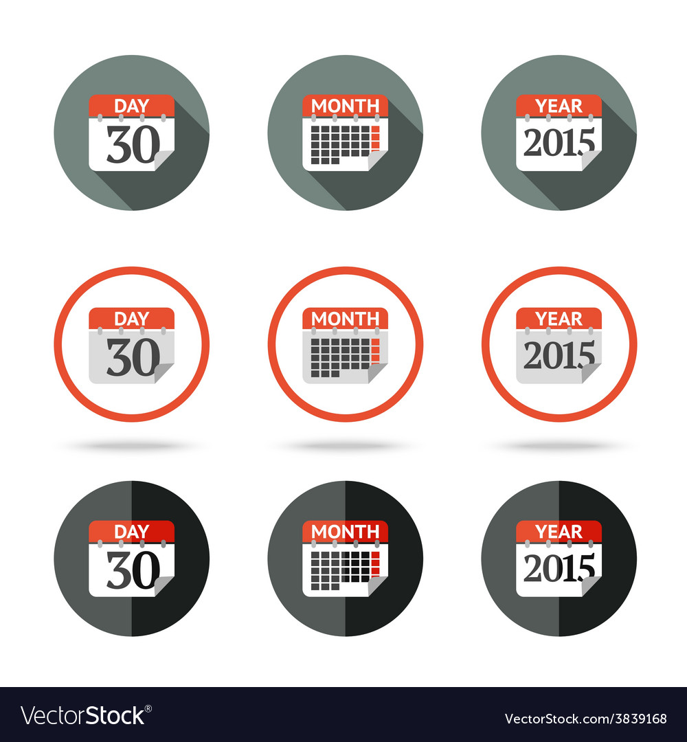 Calendar icons set - year month day Different vector image