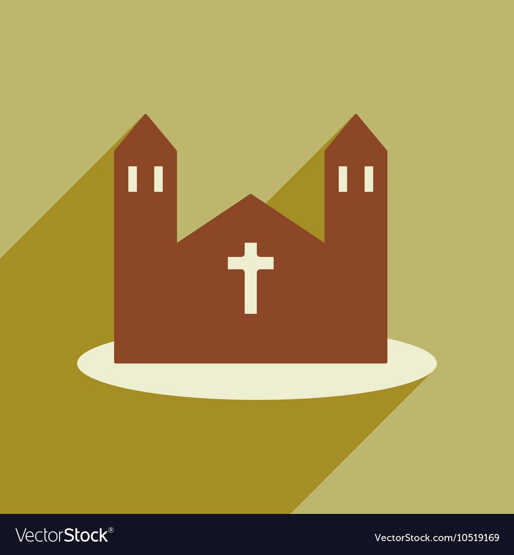 Flat web icon with long shadow church
