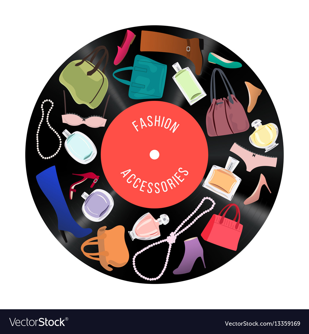 Patch of woman fashion items and accessories on vector image