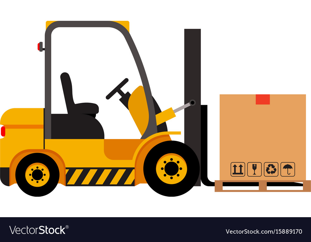 Forklift truck with cardboard box isolated vector image