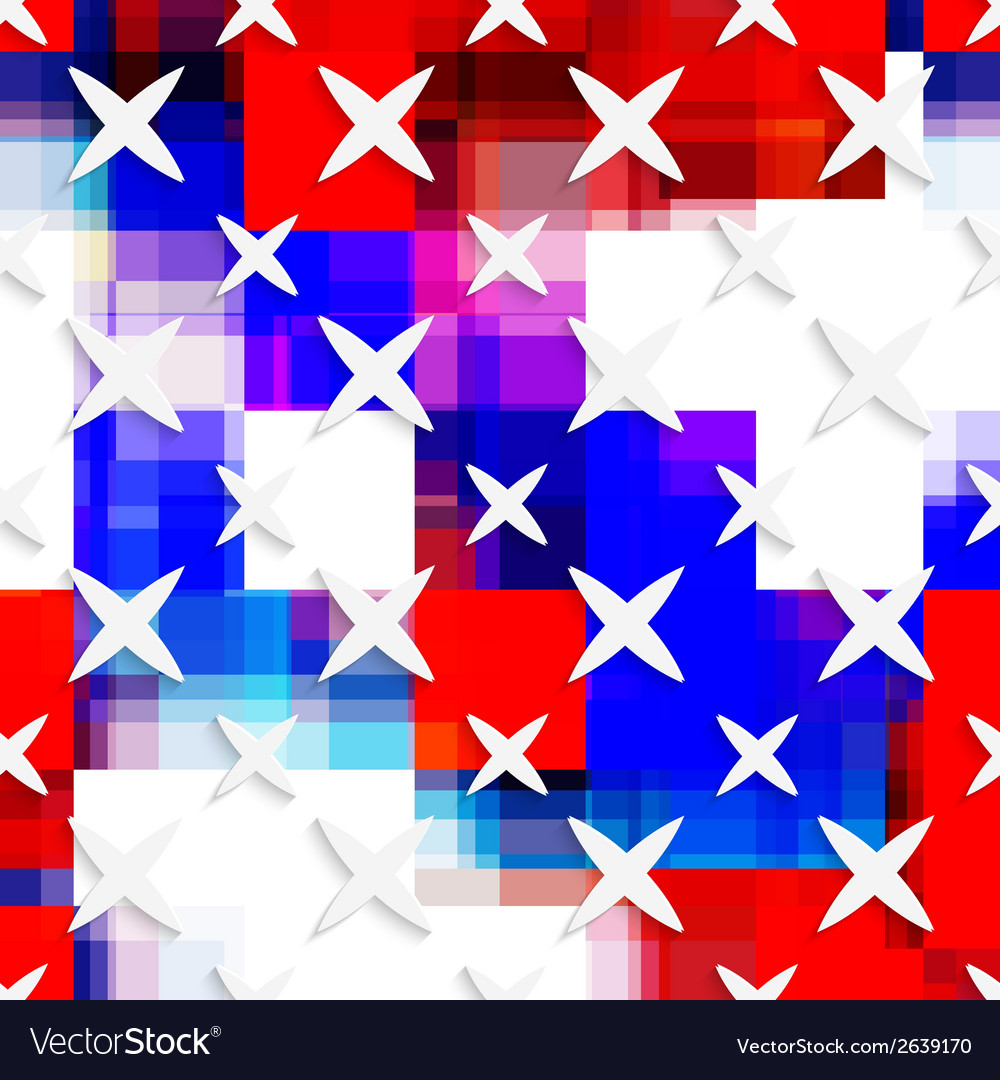 White small and big stars on flag colored layer vector image