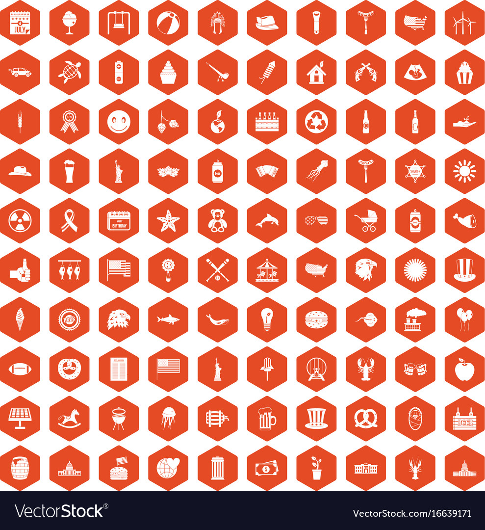 100 summer holidays icons hexagon orange vector image