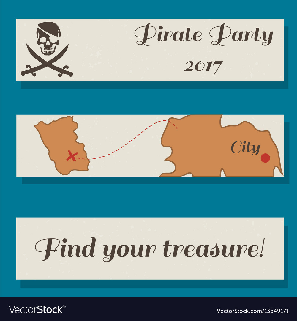 Set of flyer templates with pirate party vector image