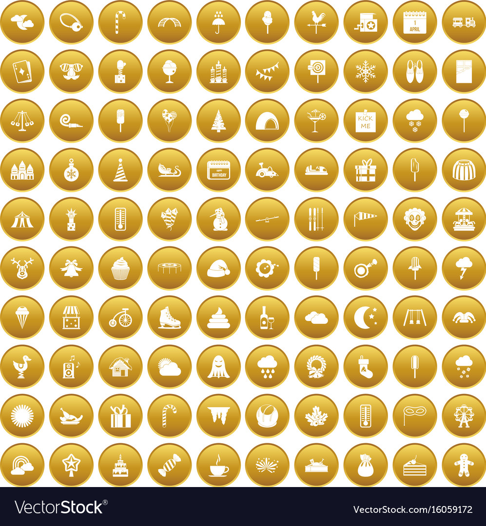 100 childrens parties icons set gold vector image