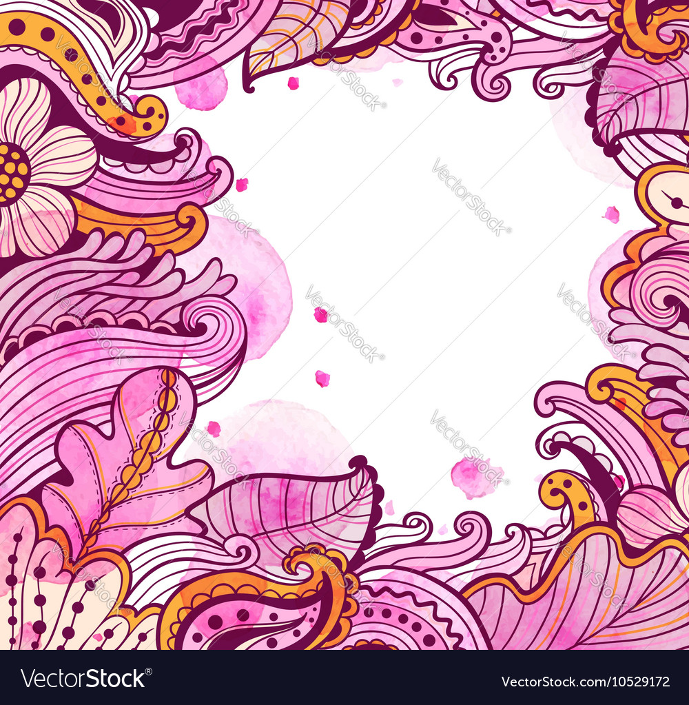 Abstract floral autumn frame vector image