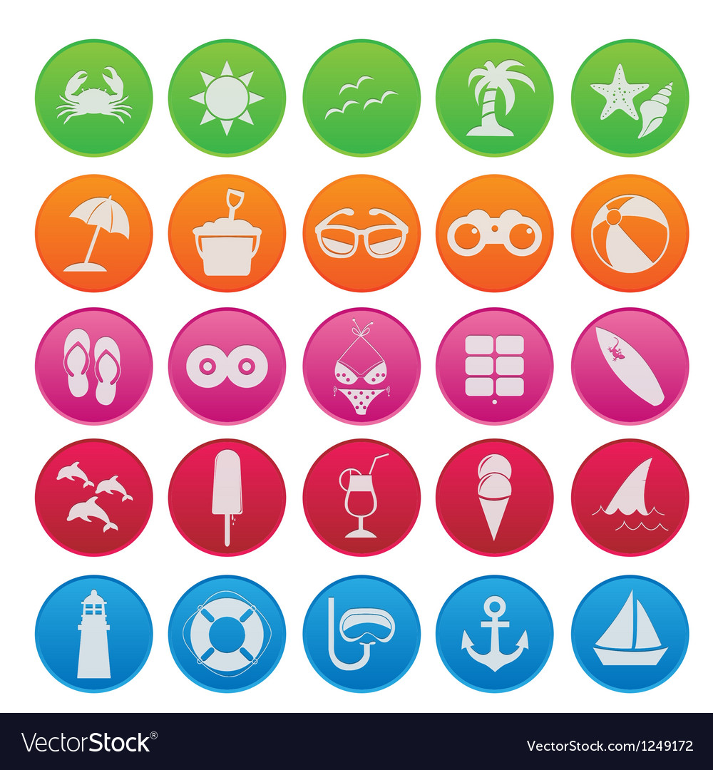 Spring break icon set gradient style vector image