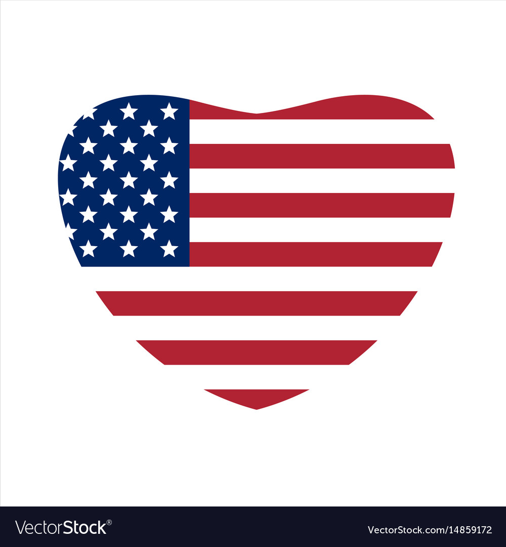 Us flag in shape of heart us symbol vector image