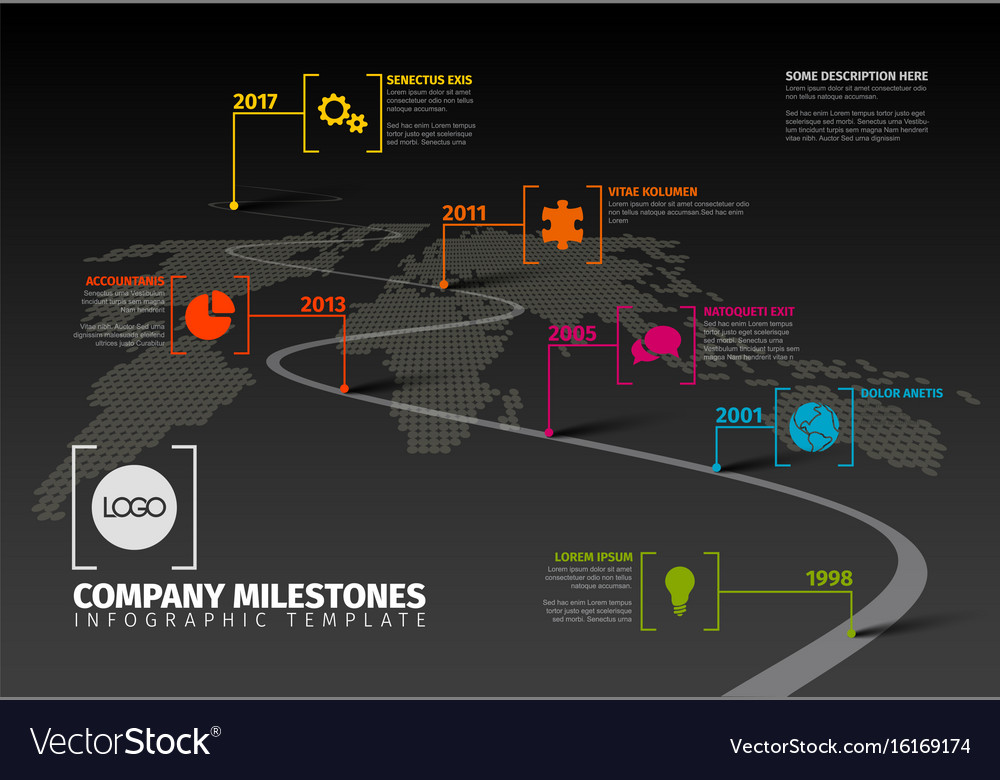 Company Milestones Timeline Template Royalty Free Vector - Milestone timeline template