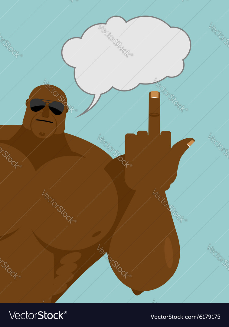 Bully shows Big strong African American with vector image