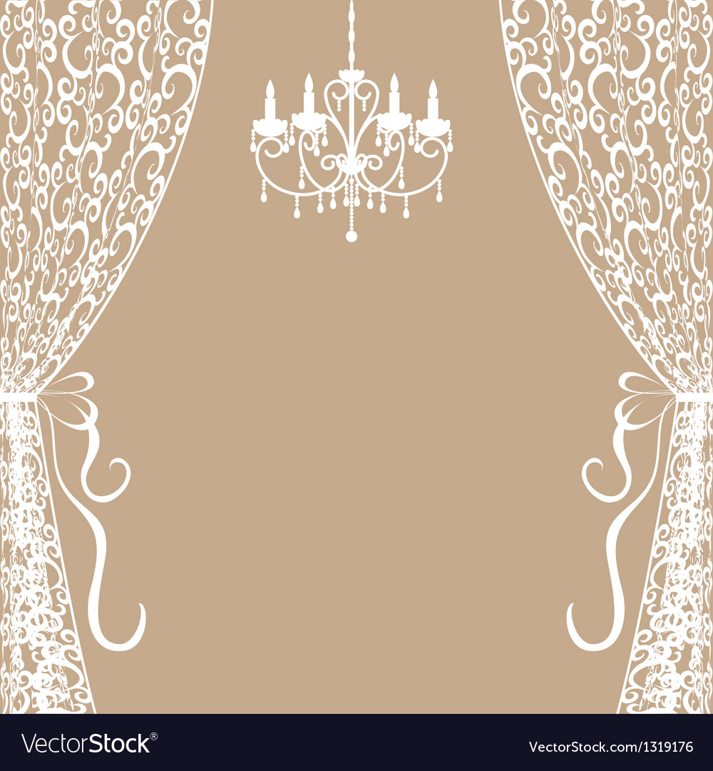Chandelier and curtains Vector Image