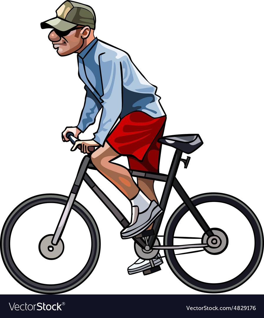Cartoon man riding a bicycle Royalty Free Vector Image