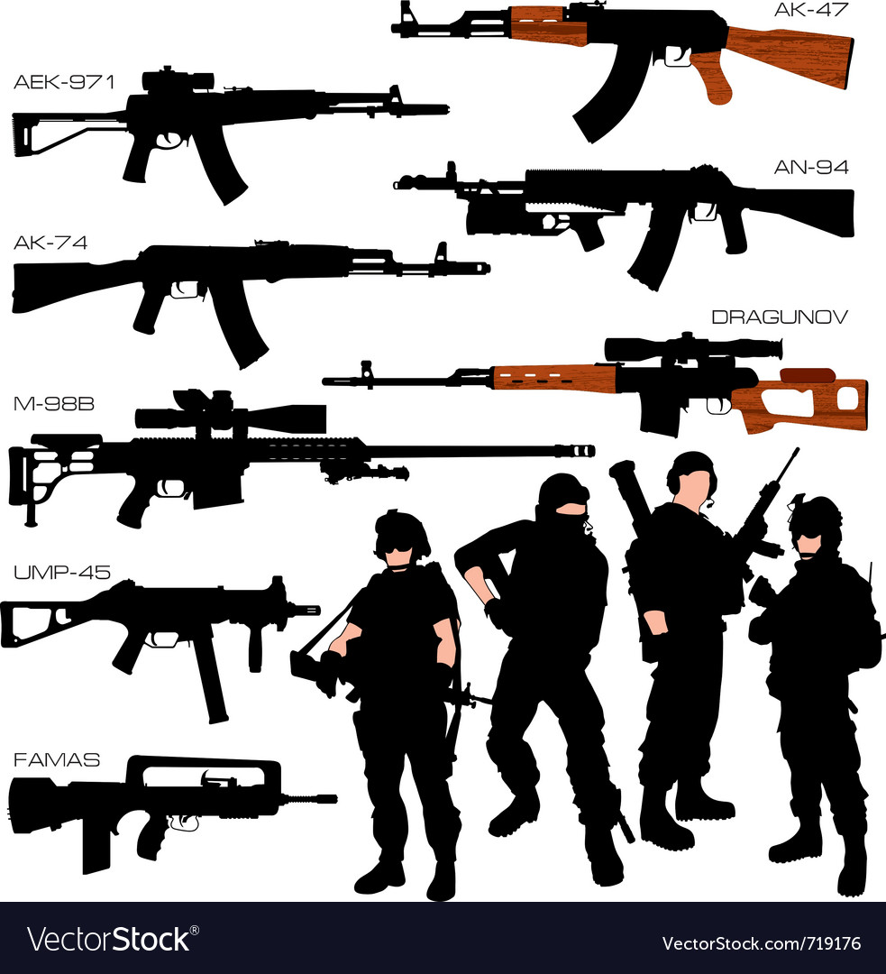 Automatic weapons set vector image