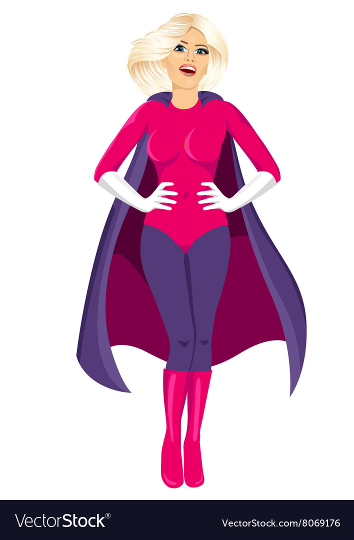 Beautiful girl in superhero costume vector image