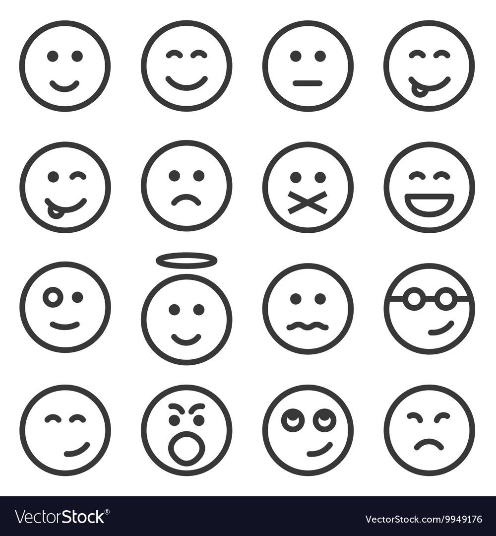 Line Art Emojis : Set of outline emoticons emoji royalty free vector image
