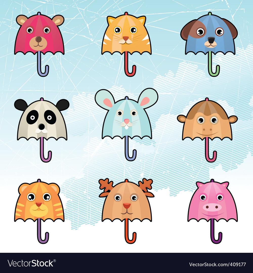 Cute umbrella characters Vector Image