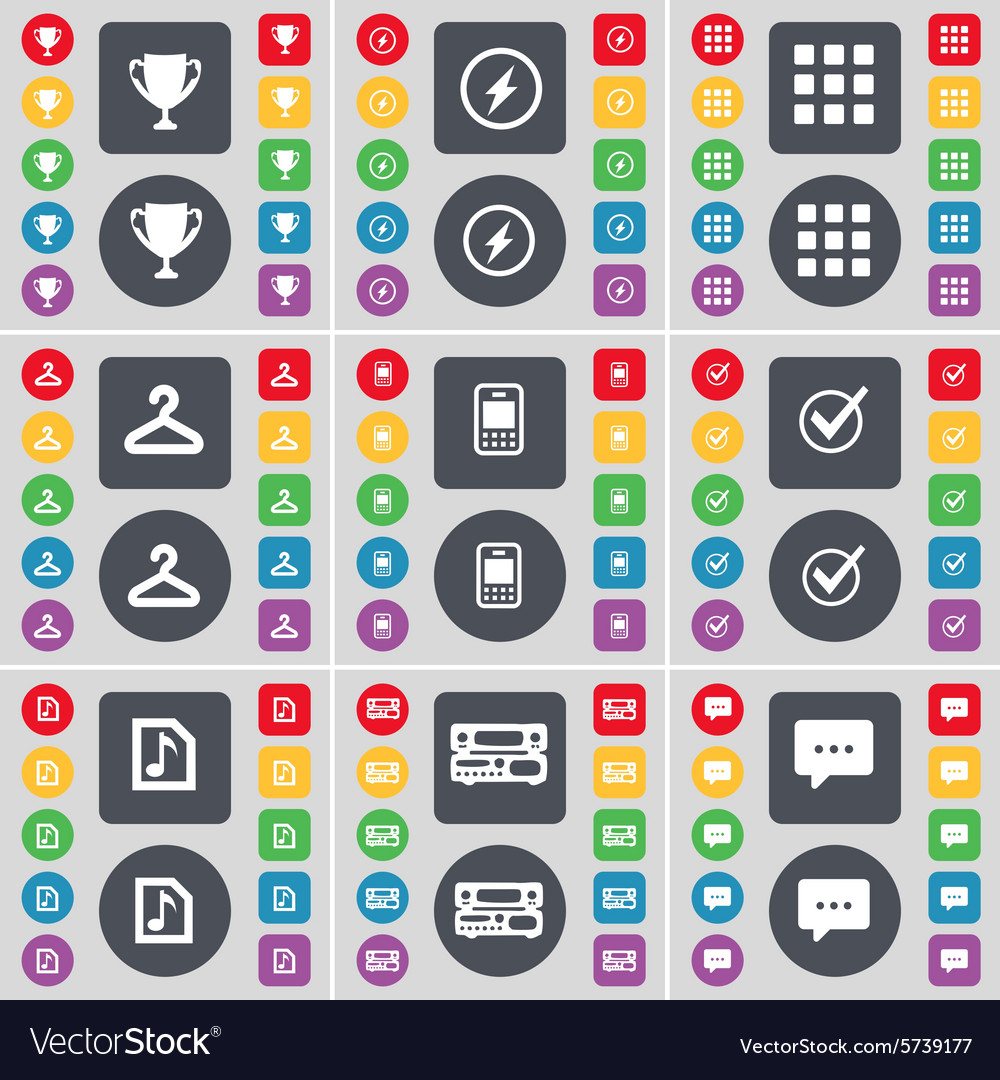 Cup Flash Apps Hanger Mobile phone Tick Music file vector image