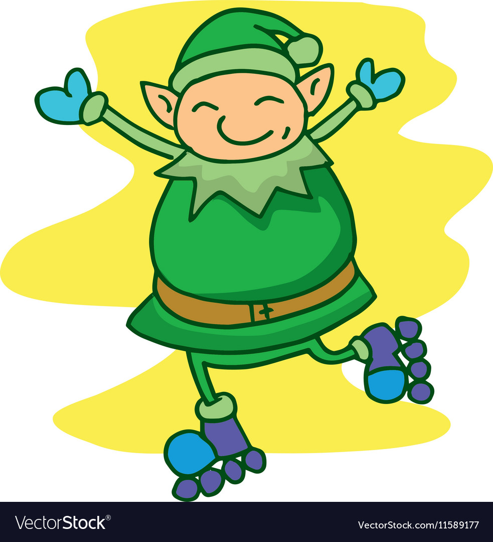 Elf with roller skates vector image