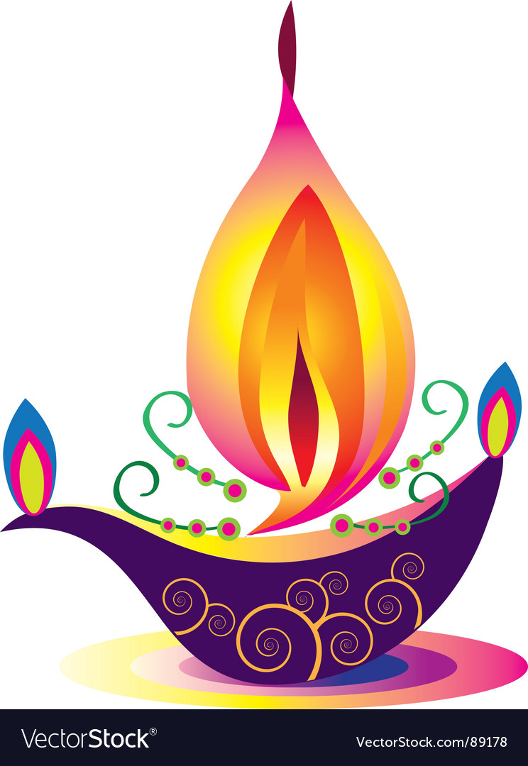 Indian oil lamp Royalty Free Vector Image - VectorStock for Oil Lamp Clip Art  557yll