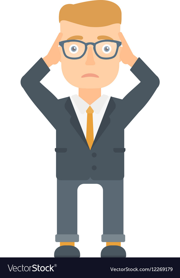 Bankrupt businessman clutching his head vector image