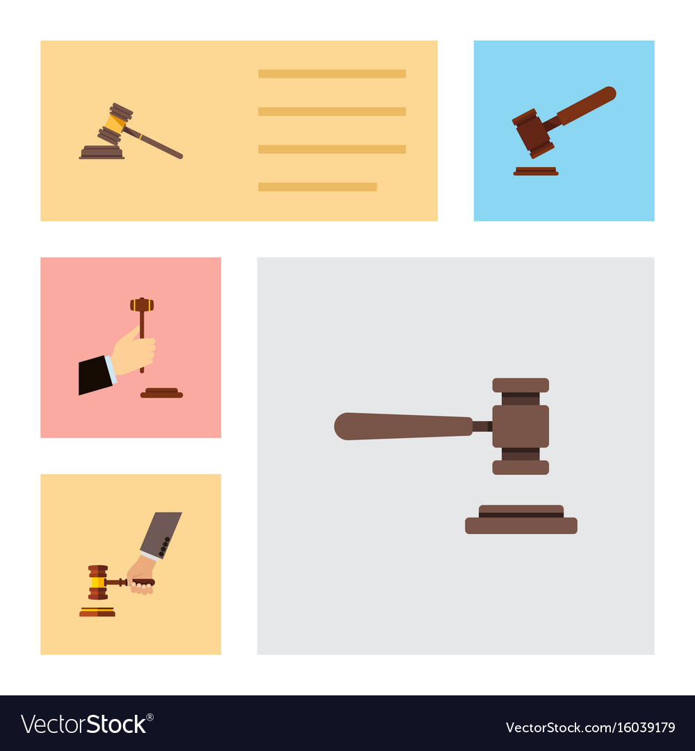 Flat icon lawyer set of court crime law and vector image