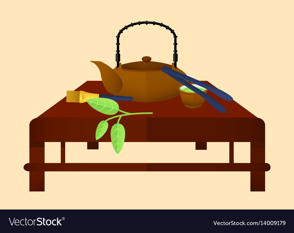 Flat tea time chinese concept vector image