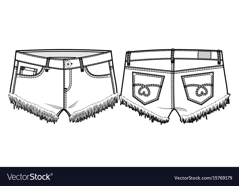 Front and back view of shorts vector image