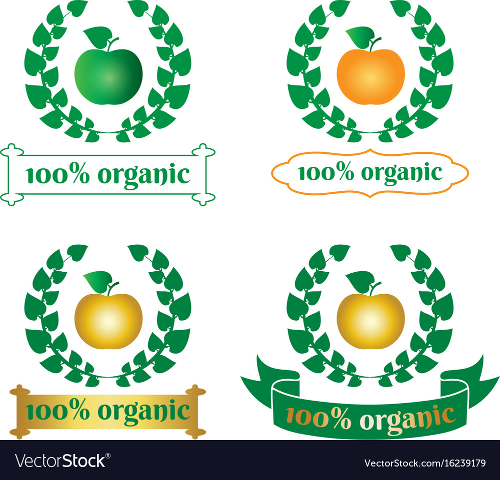 Organic food logo symbol vector image