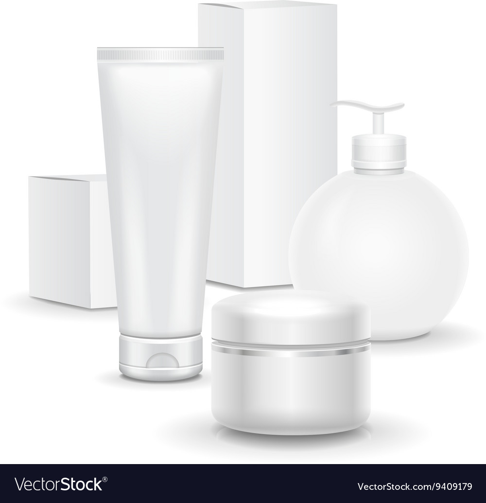 Set of cosmetic products on a white background vector image
