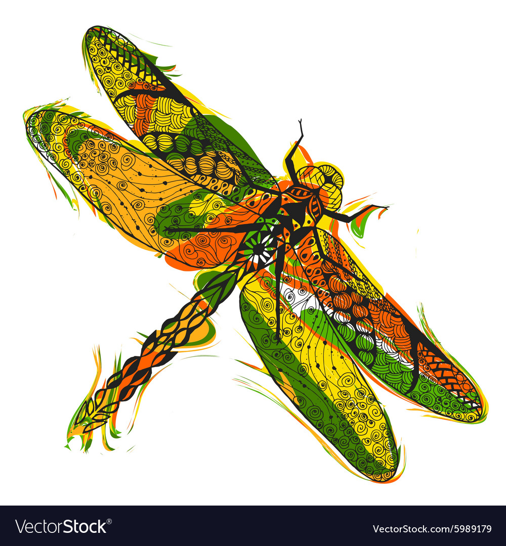 Zentangle stylized dragonfly with abstract vector image
