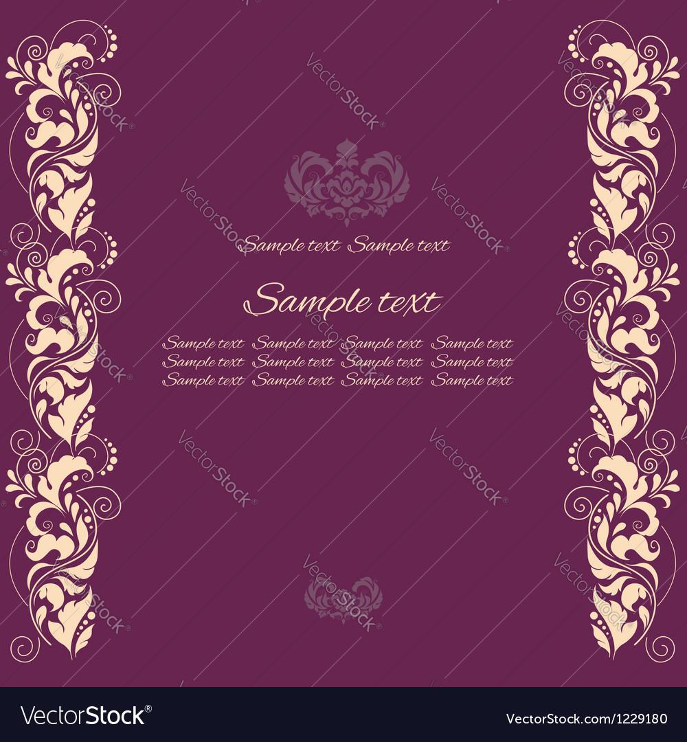 Background with floral ornamental fram vector image