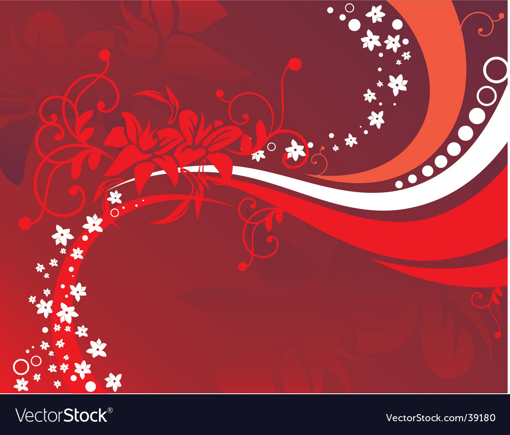 Floral background red vector image