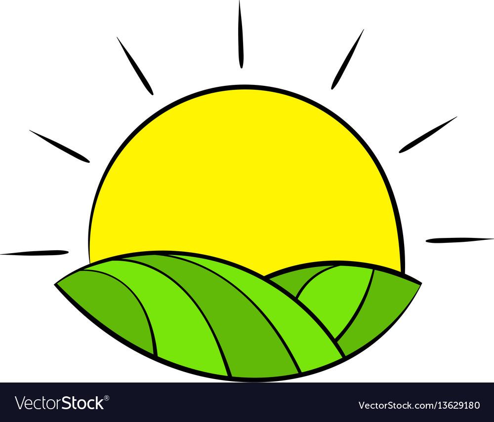 Sun over fields of france icon cartoon vector image