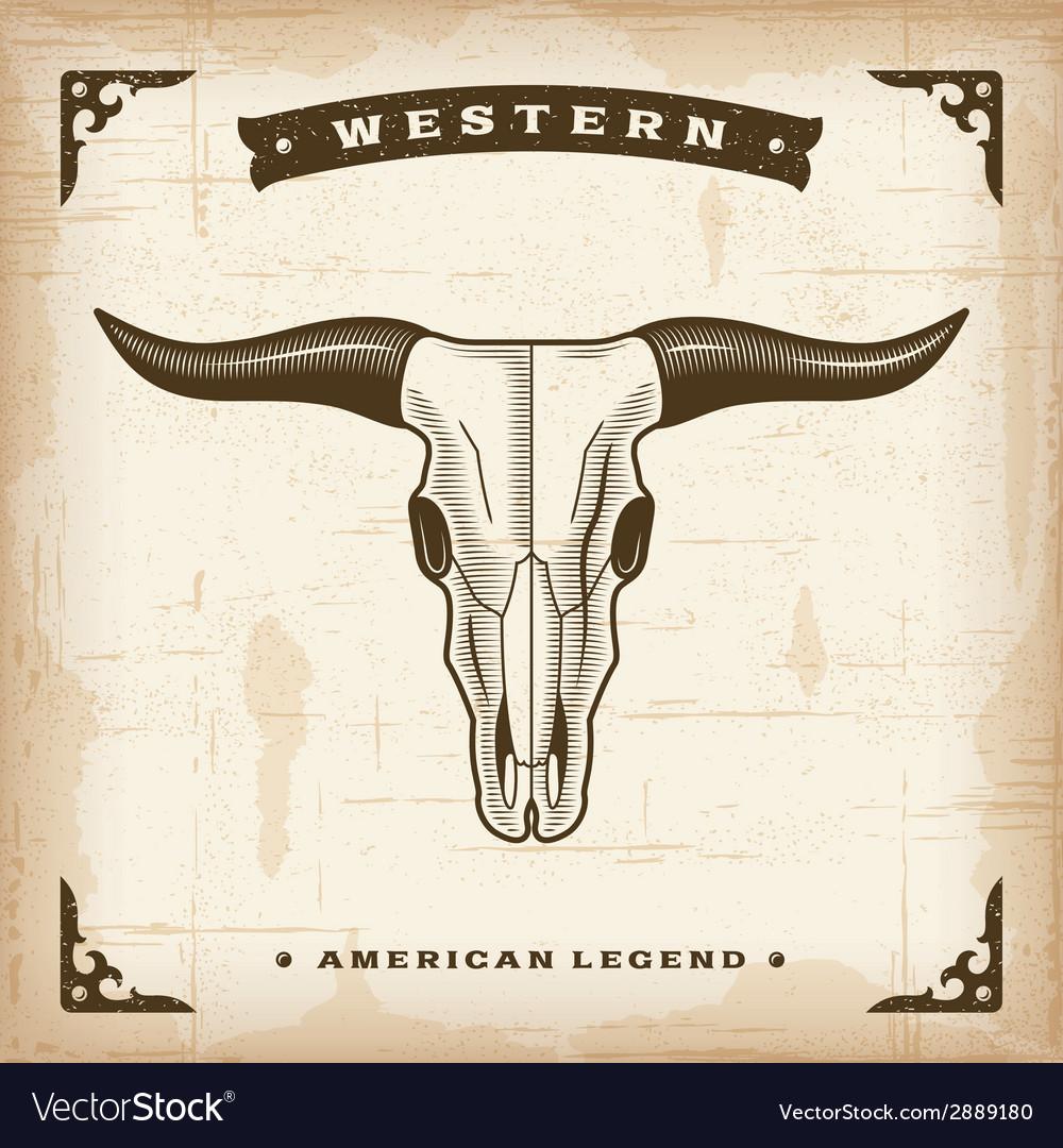 Vintage Western Bull Skull vector image