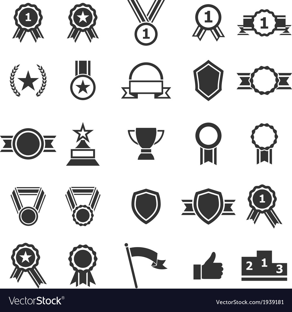 Award icons on white background vector image