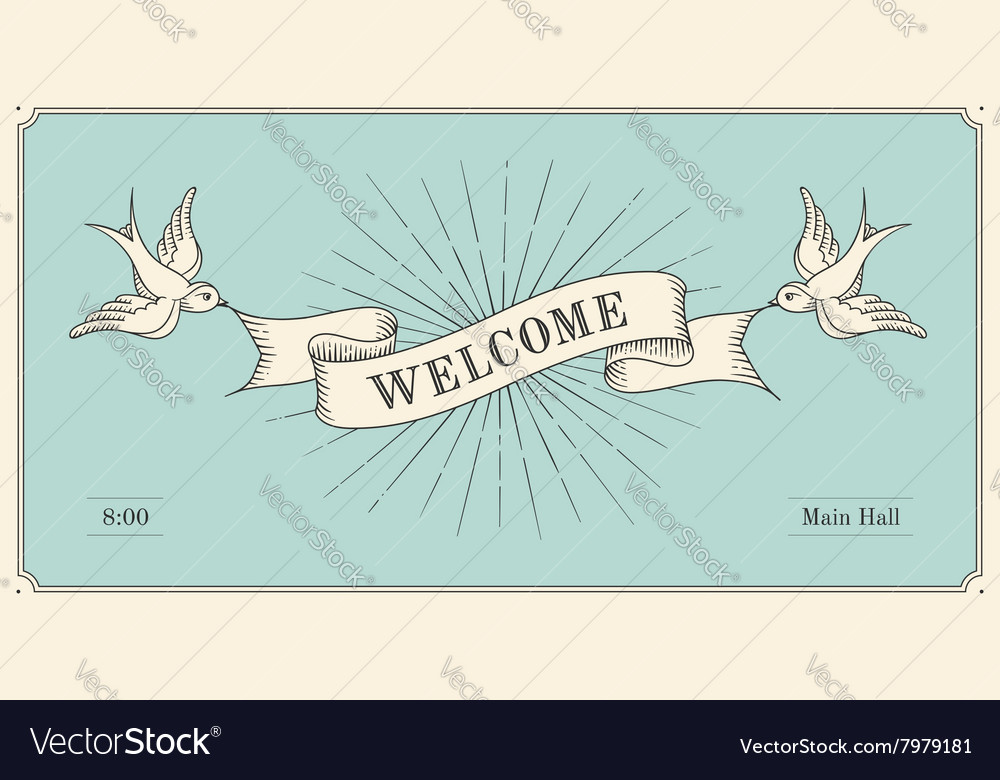 Invitation with word welcome old vintage ribbon vector image invitation with word welcome old vintage ribbon vector image stopboris Images