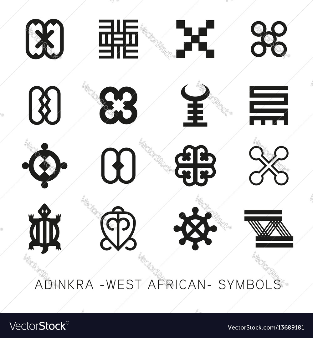 Set of akan and adinkra west african symbols vector image biocorpaavc Image collections