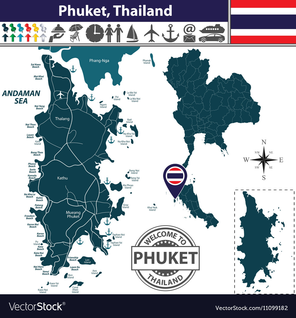 Map of Phuket Royalty Free Vector Image VectorStock