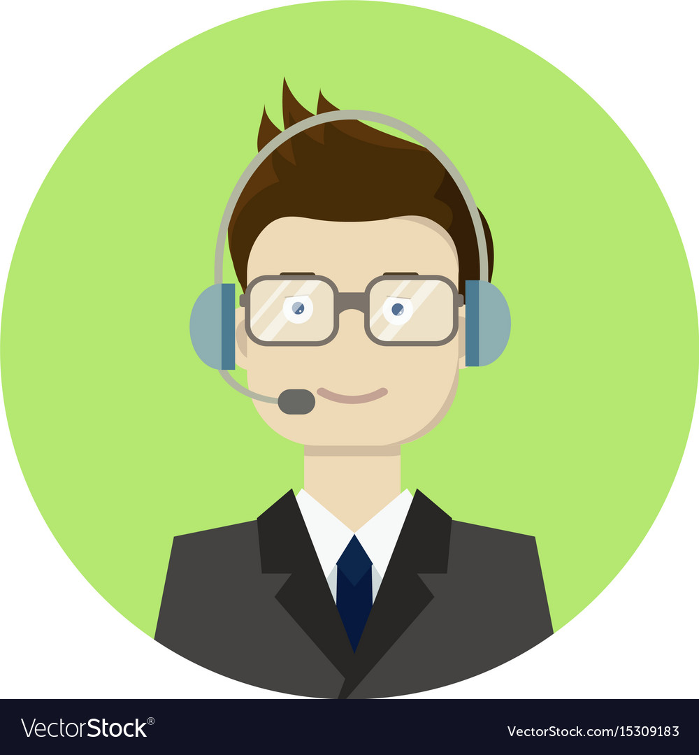 Call center boy operator vector image