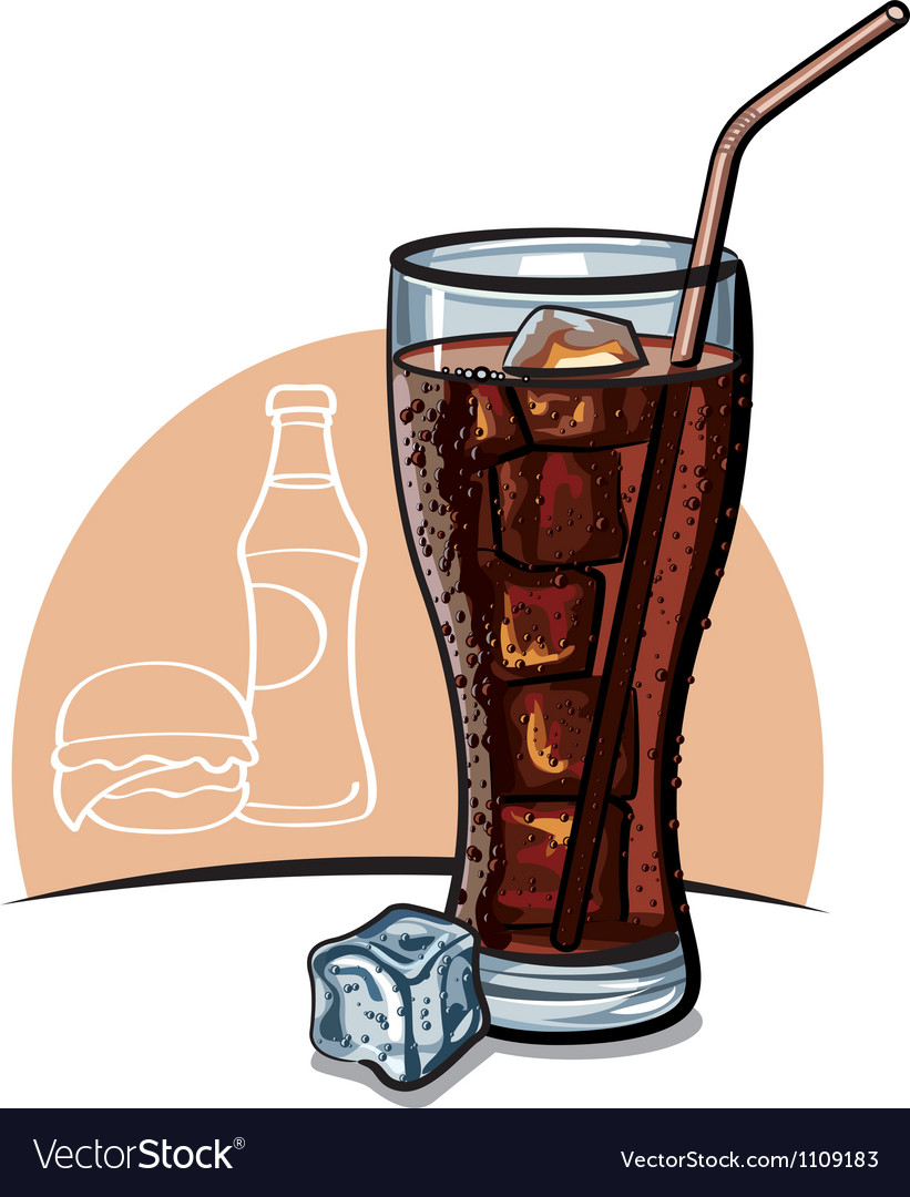 Cola with ice vector image