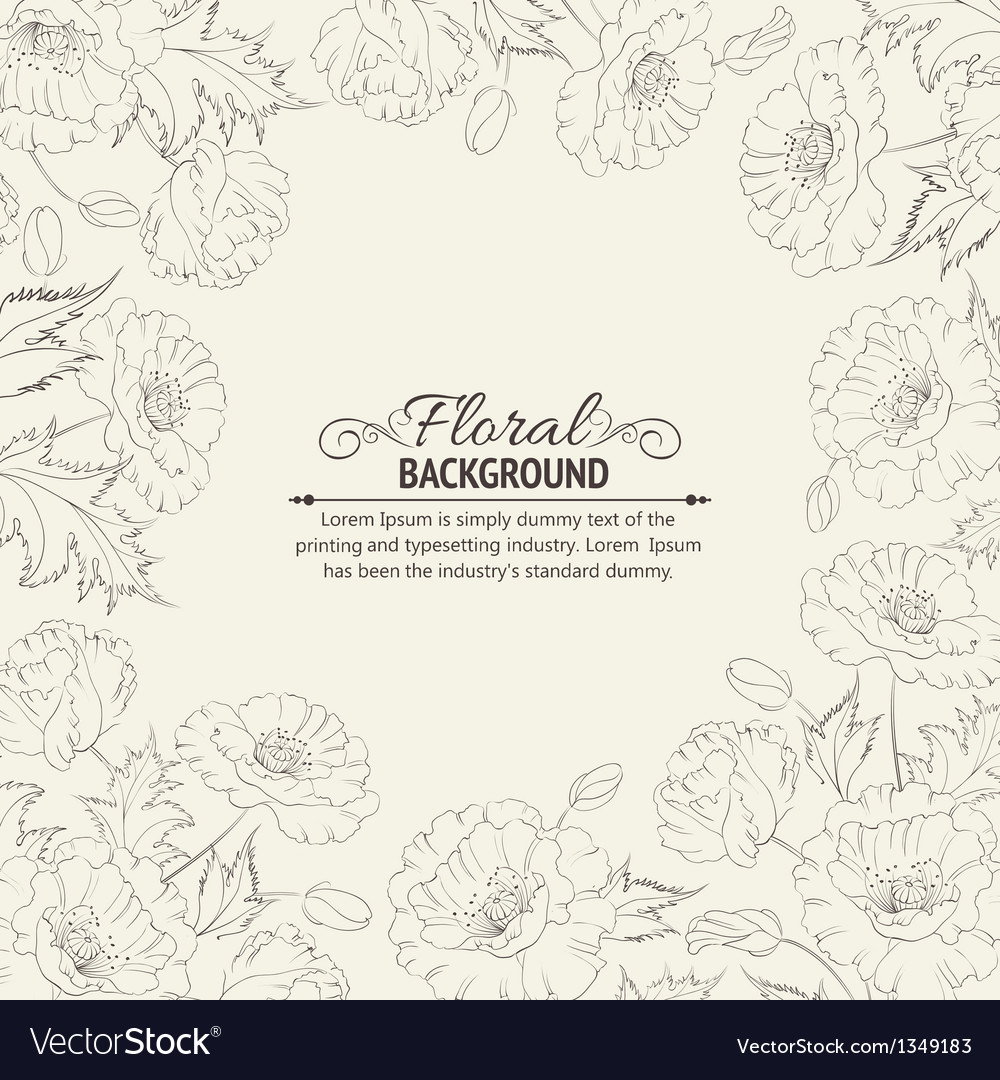 Frame with wreath of poppies vector image