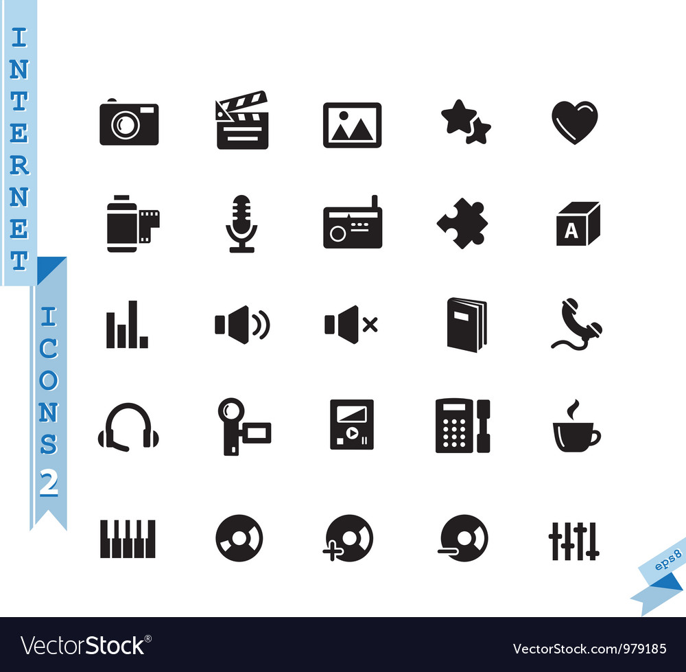Black media icons vector image