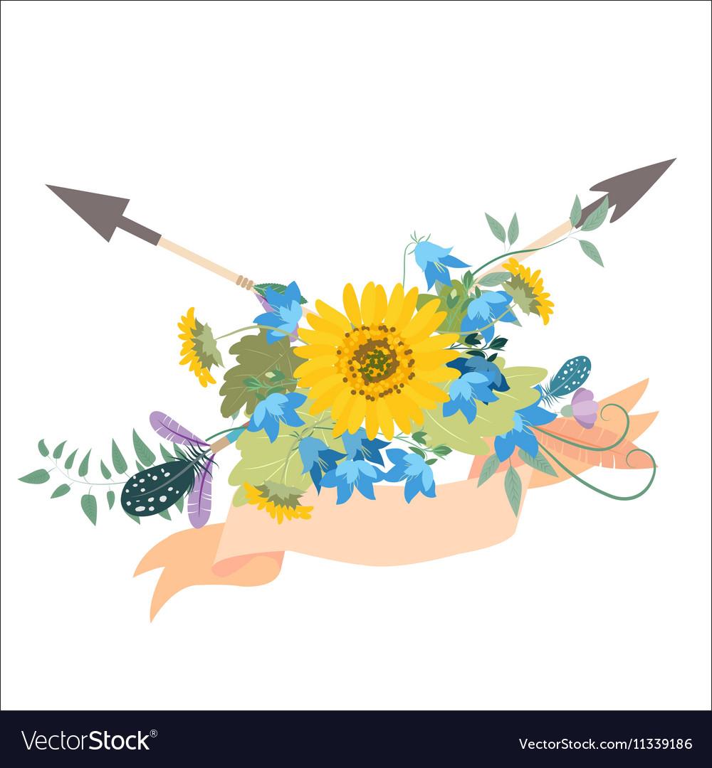 Flower arrangement with sunflowers kolokolchiklm vector image
