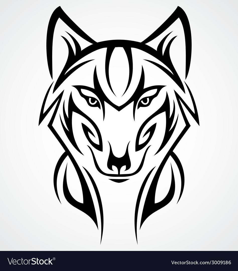 Wolf Head Tattoo Design vector image
