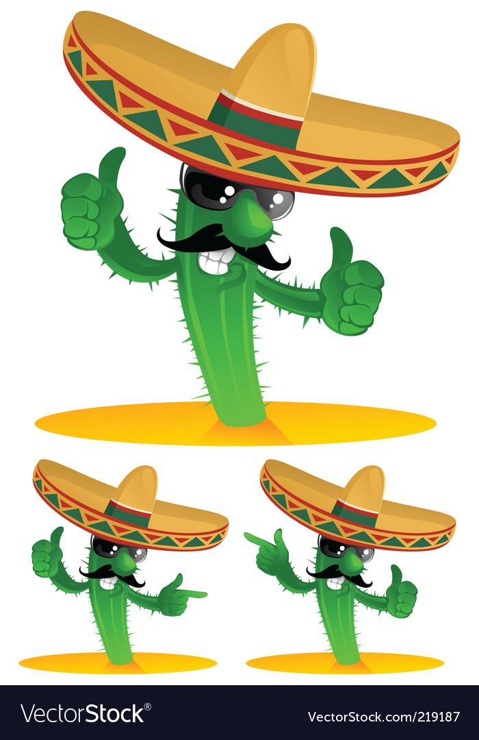Three cactus vector image