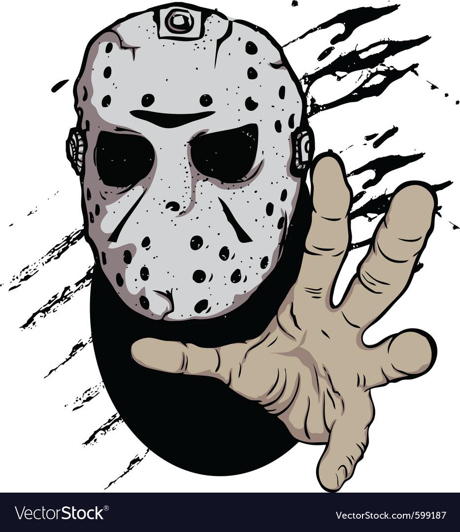 Horror hockey mask halloween vector image